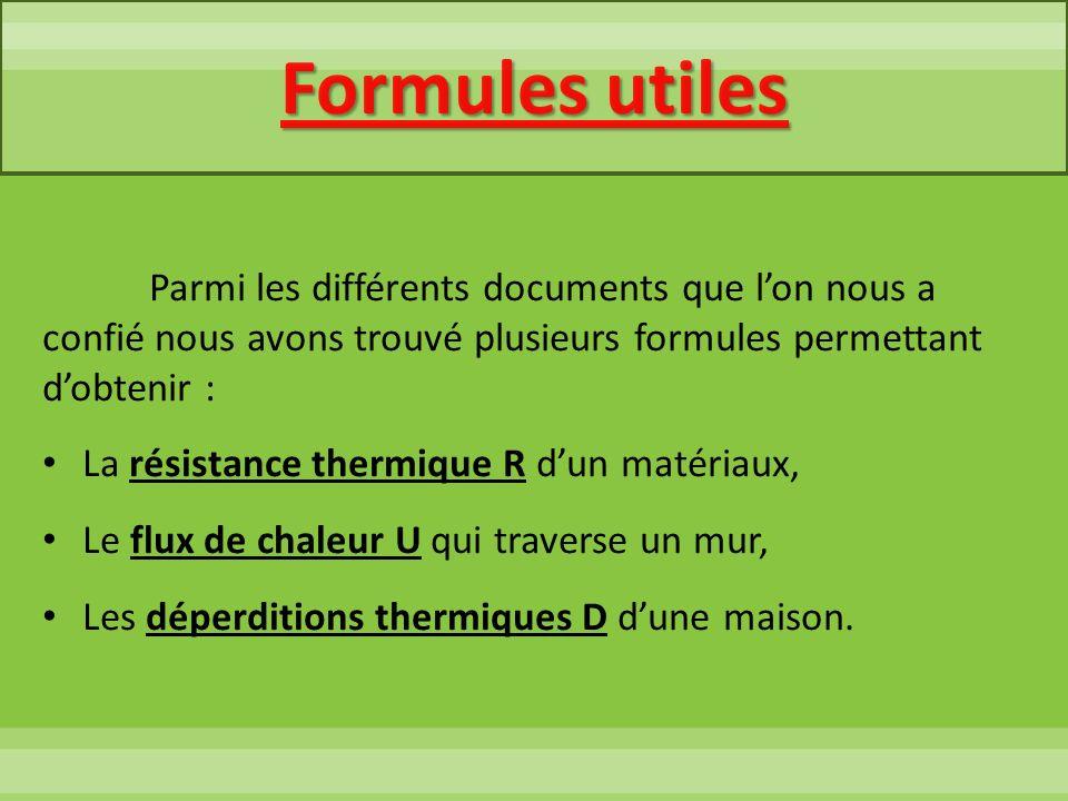 Formules utilesParmi les différents documents que l'on nous a confié nous avons trouvé plusieurs formules permettant d'obtenir :