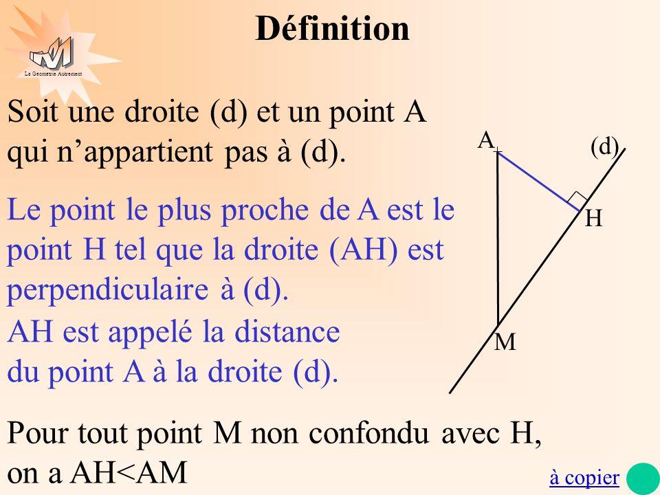 DéfinitionSoit une droite (d) et un point A qui n'appartient pas à (d). A. (d)