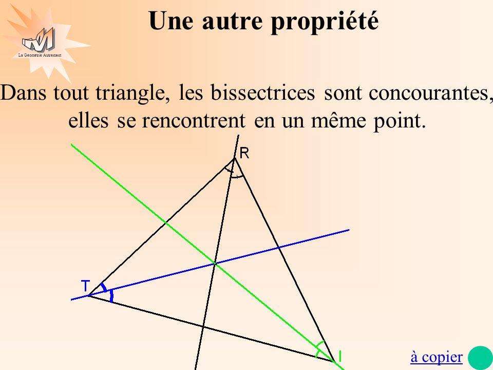 Une autre propriétéDans tout triangle, les bissectrices sont concourantes, elles se rencontrent en un même point.