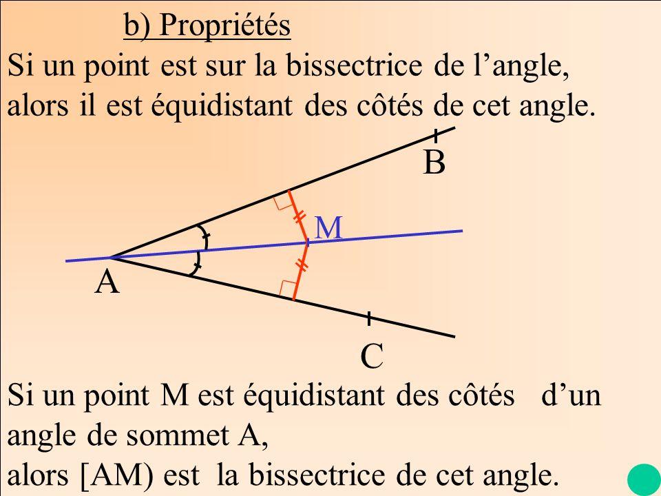 b) PropriétésSi un point est sur la bissectrice de l'angle, alors il est équidistant des côtés de cet angle.