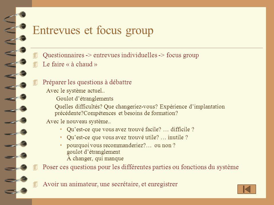 Entrevues et focus group