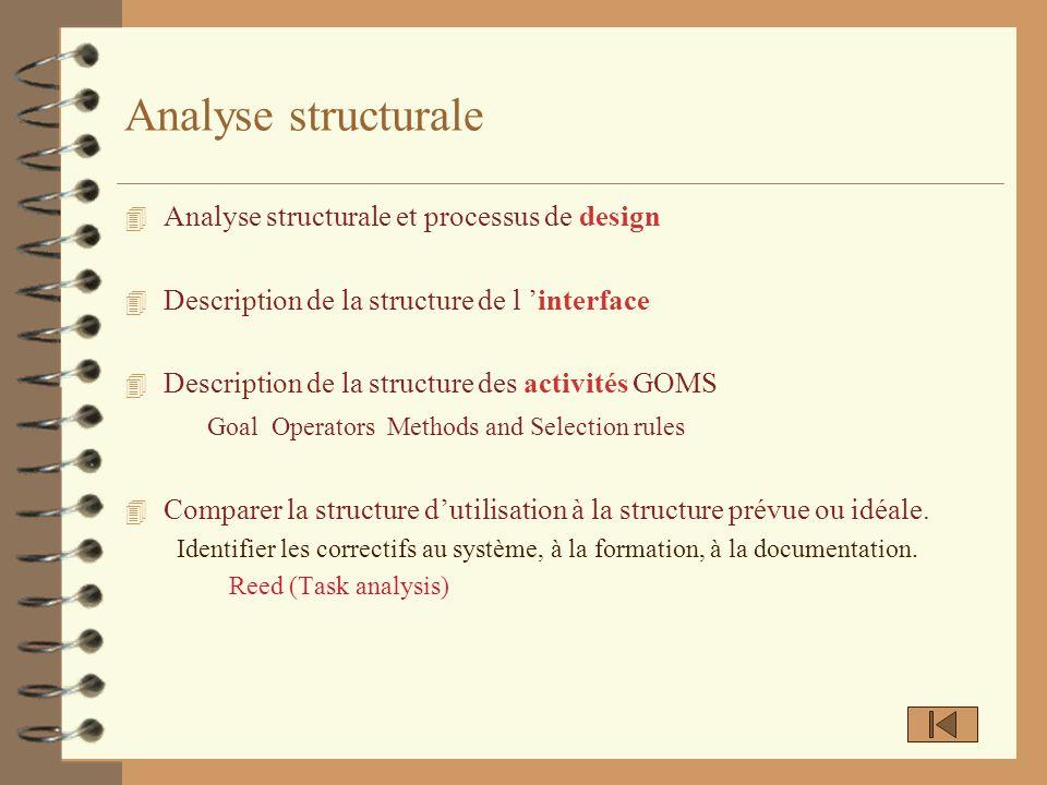 Analyse structurale Analyse structurale et processus de design