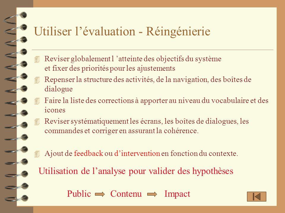 Utiliser l'évaluation - Réingénierie