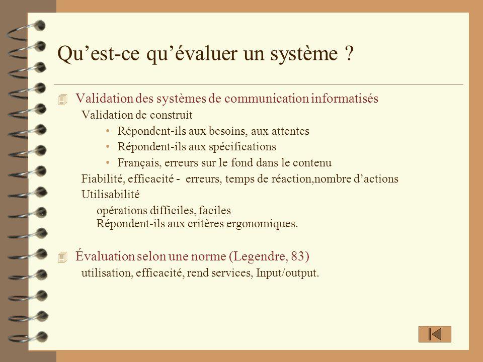 Qu'est-ce qu'évaluer un système