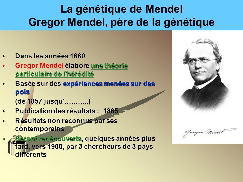 La génétique de Mendel Gregor Mendel, père de la génétique