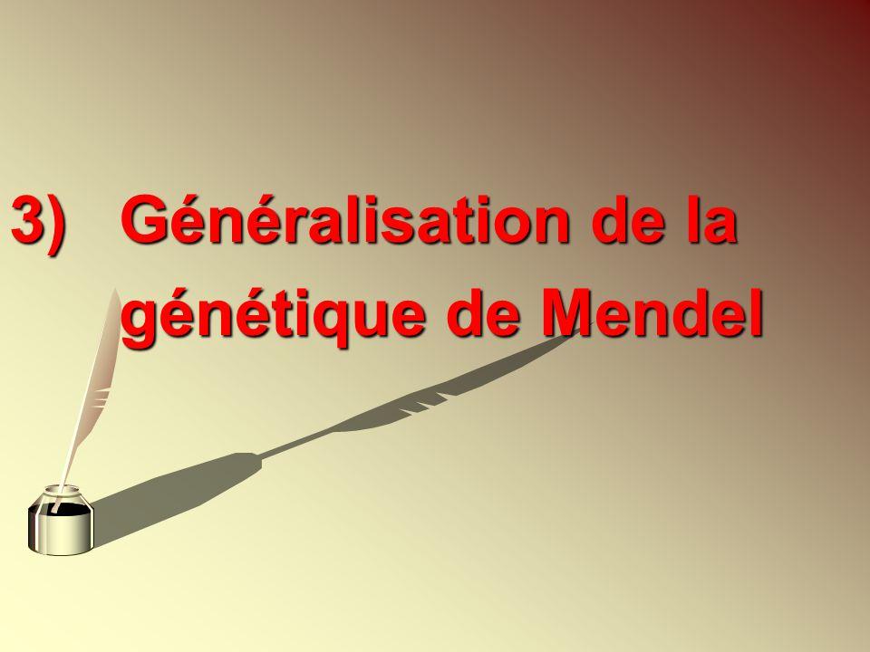 3) Généralisation de la génétique de Mendel