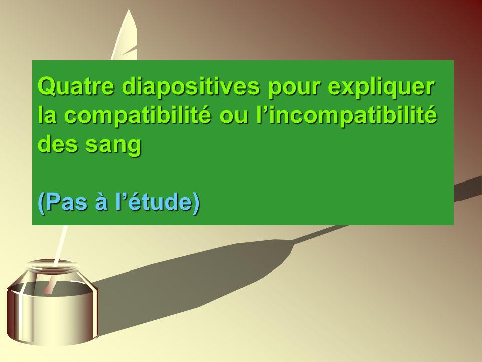 Quatre diapositives pour expliquer la compatibilité ou l'incompatibilité des sang (Pas à l'étude)