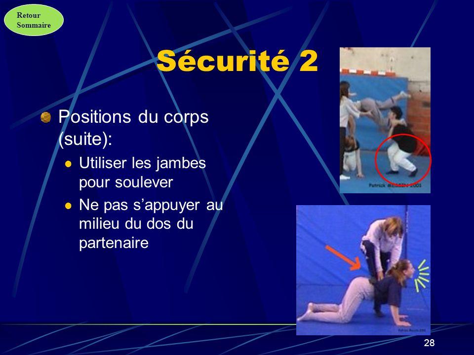 Sécurité 2 Positions du corps (suite):