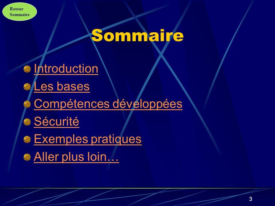 Sommaire Introduction Les bases Compétences développées Sécurité