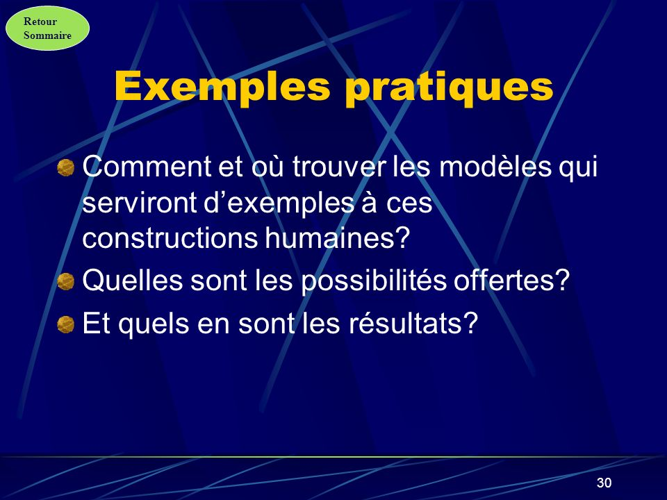 Exemples pratiques Comment et où trouver les modèles qui serviront d'exemples à ces constructions humaines