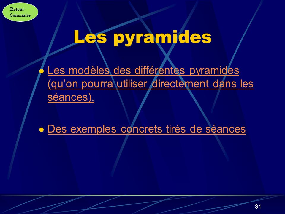 Les pyramides Les modèles des différentes pyramides (qu'on pourra utiliser directement dans les séances).