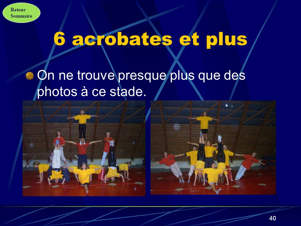 6 acrobates et plus On ne trouve presque plus que des photos à ce stade.