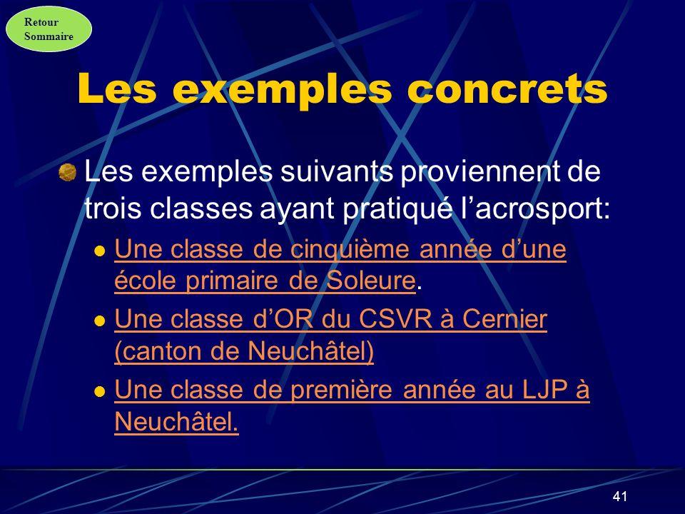 Les exemples concrets Les exemples suivants proviennent de trois classes ayant pratiqué l'acrosport: