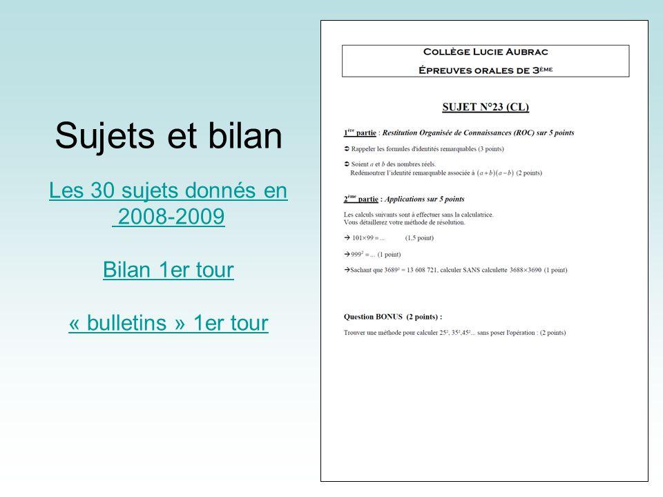 Sujets et bilan Les 30 sujets donnés en 2008-2009 Bilan 1er tour