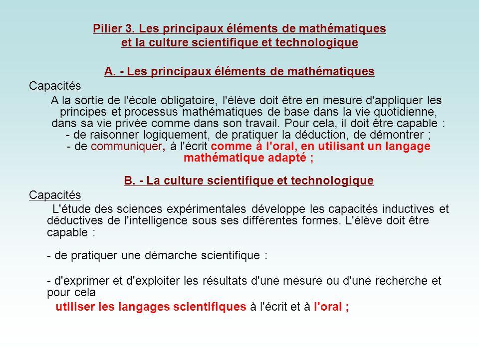 Pilier 3. Les principaux éléments de mathématiques