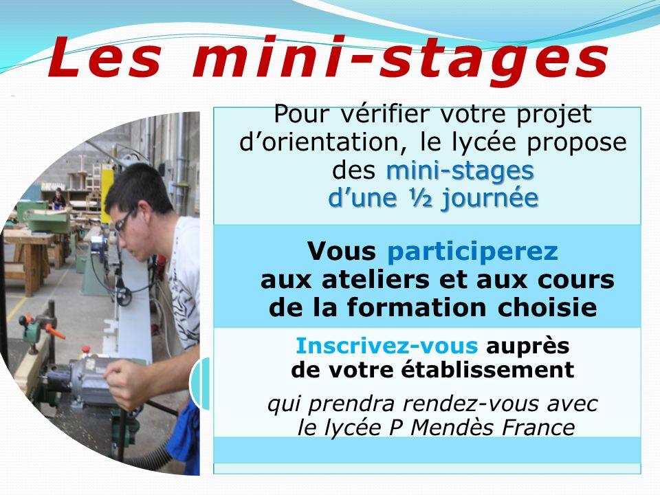 Les mini-stages Pour vérifier votre projet d'orientation, le lycée propose des mini-stages d'une ½ journée.