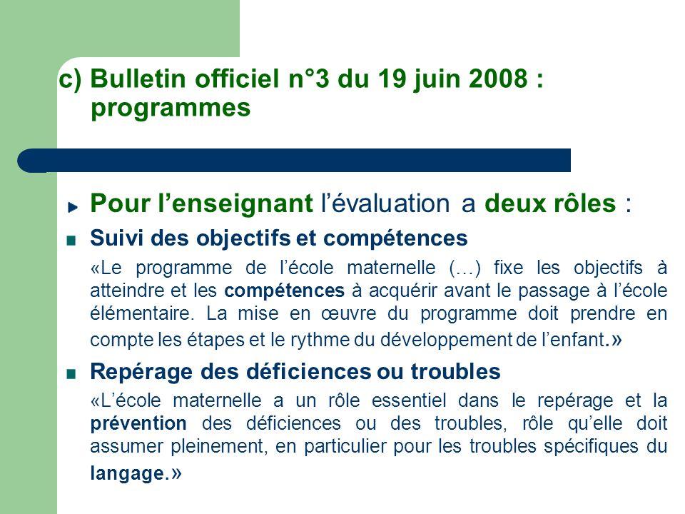 c) Bulletin officiel n°3 du 19 juin 2008 : programmes