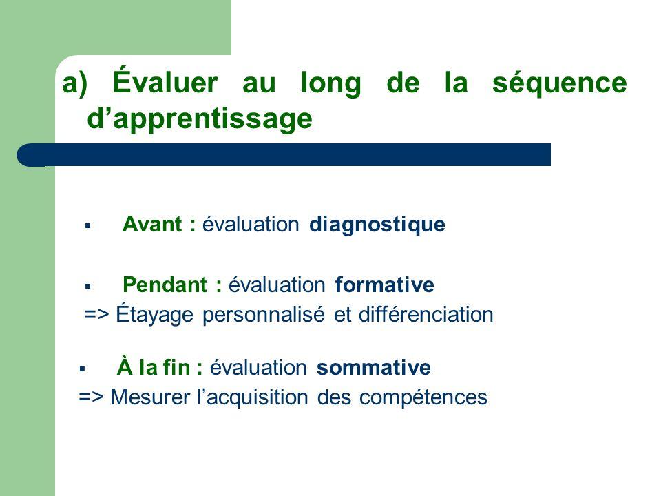 a) Évaluer au long de la séquence d'apprentissage