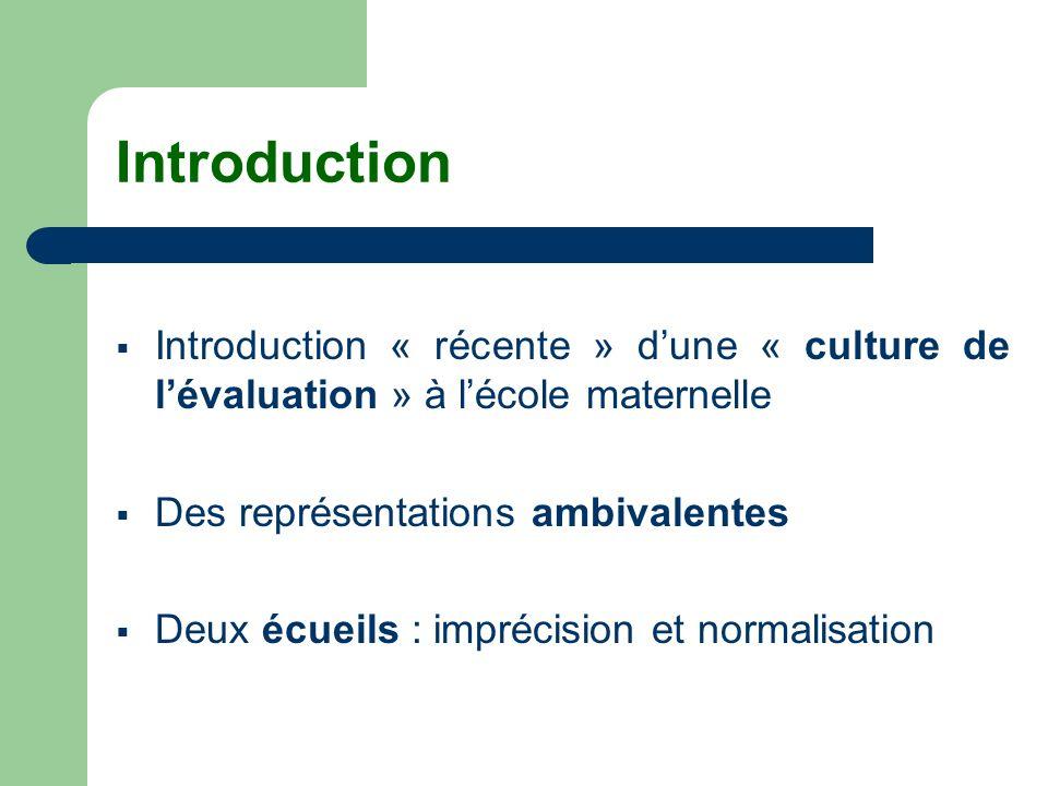 Introduction Introduction « récente » d'une « culture de l'évaluation » à l'école maternelle. Des représentations ambivalentes.