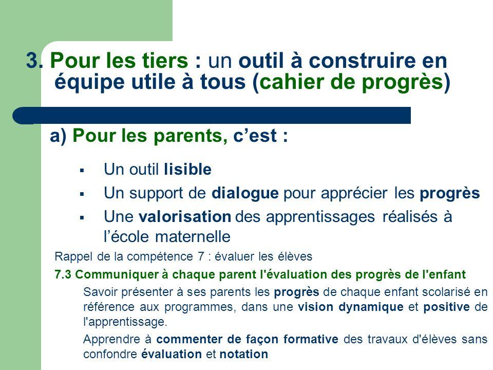 a) Pour les parents, c'est :
