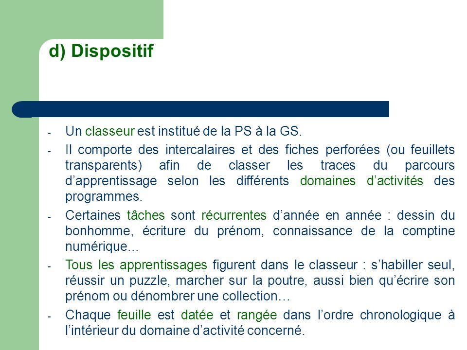d) Dispositif Un classeur est institué de la PS à la GS.