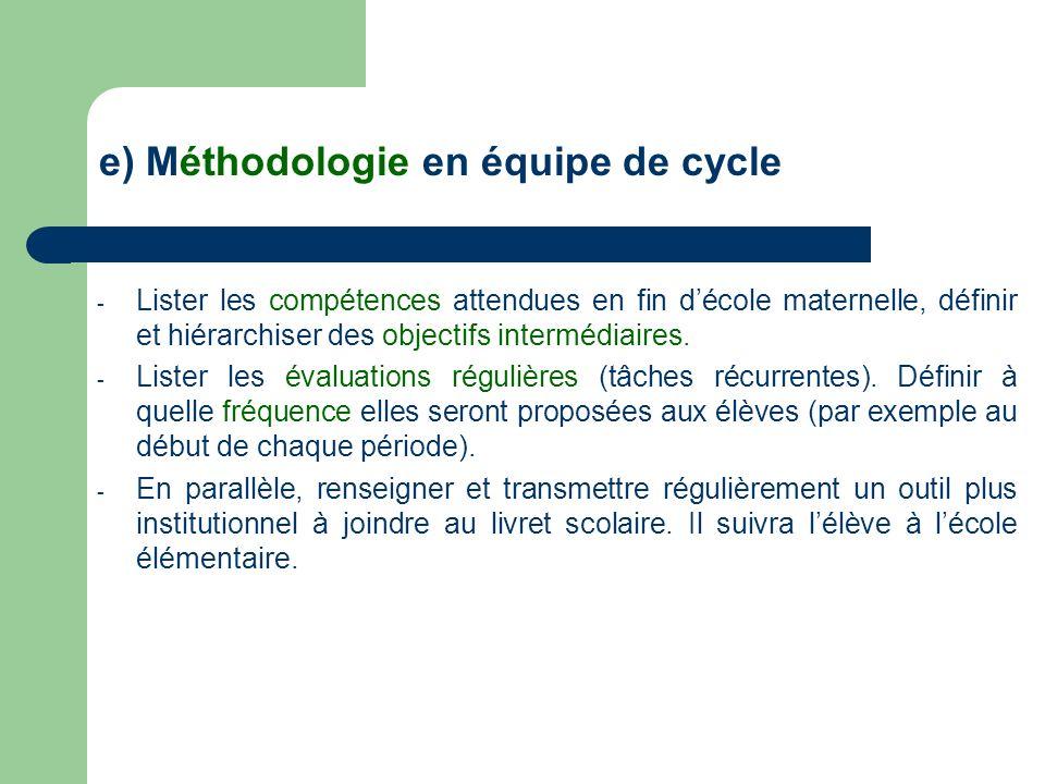 e) Méthodologie en équipe de cycle