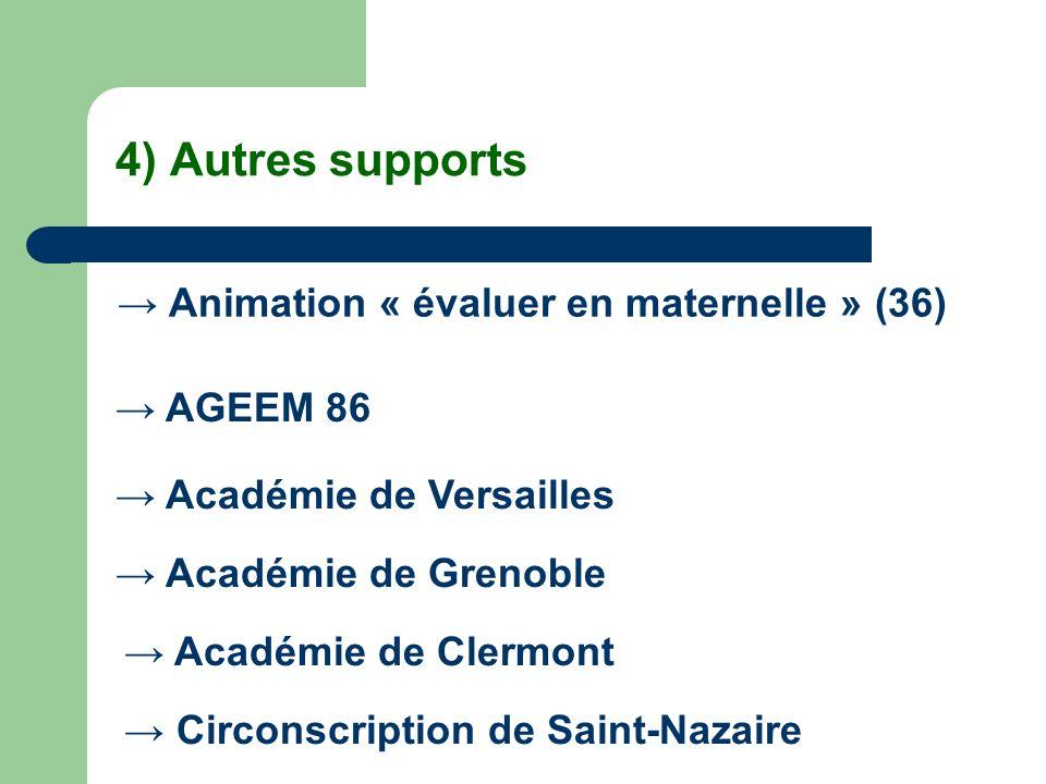 4) Autres supports → Animation « évaluer en maternelle » (36)