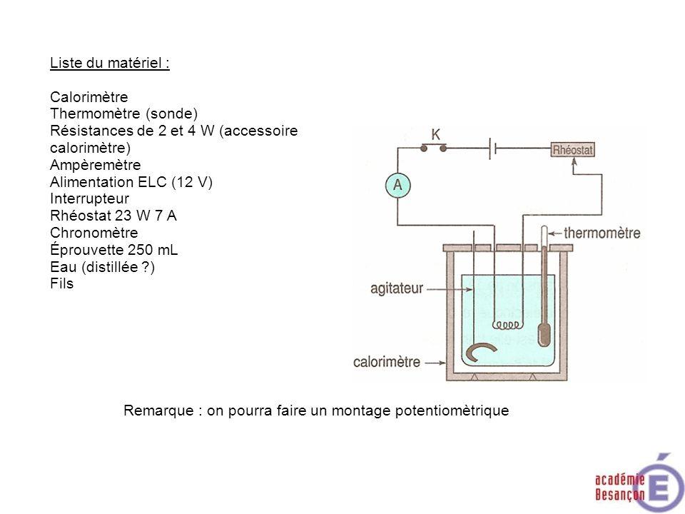 Liste du matériel :Calorimètre. Thermomètre (sonde) Résistances de 2 et 4 W (accessoire calorimètre)
