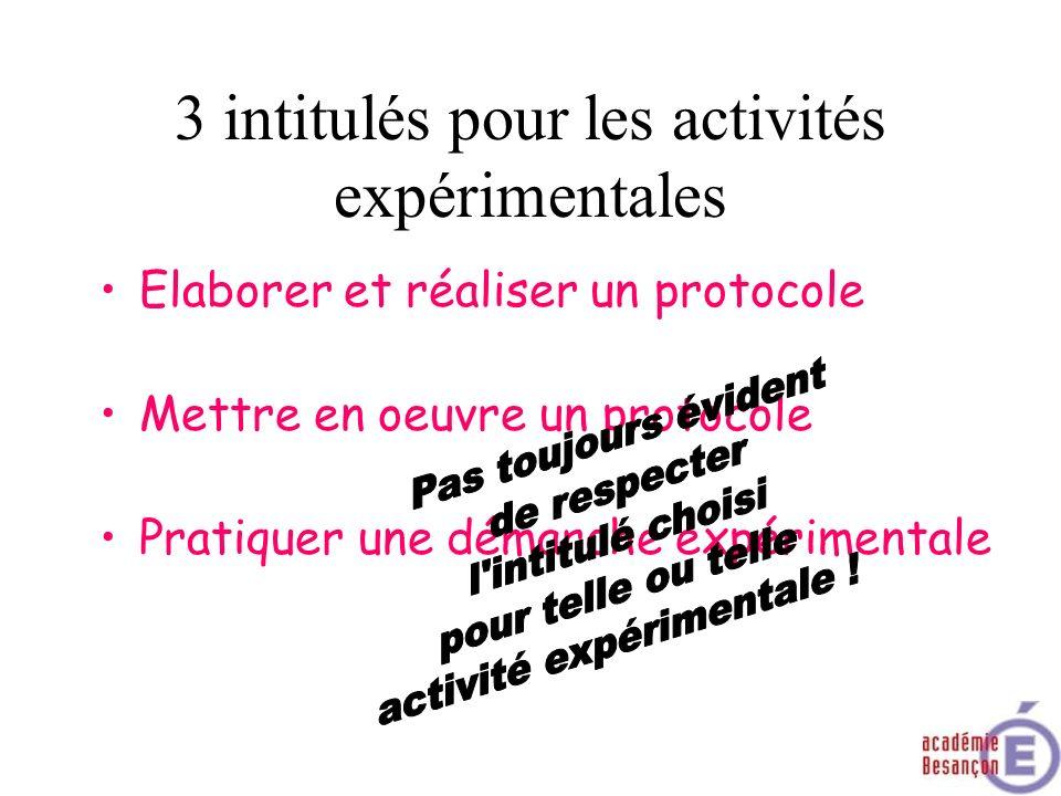 3 intitulés pour les activités expérimentales