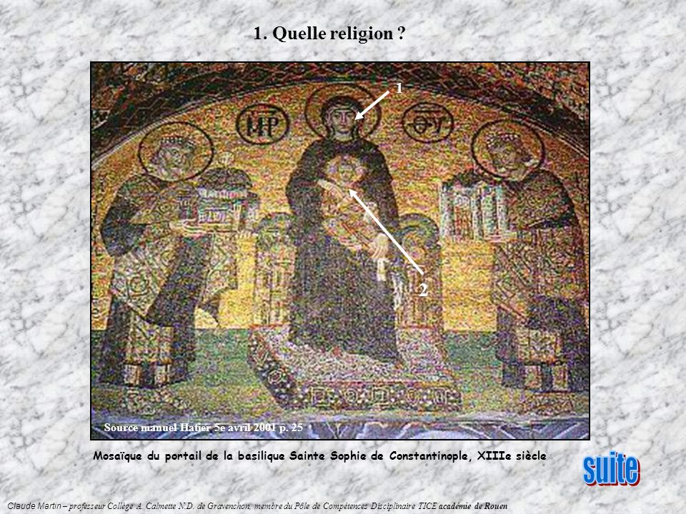 1. Quelle religion Source manuel Hatier 5e avril 2001 p