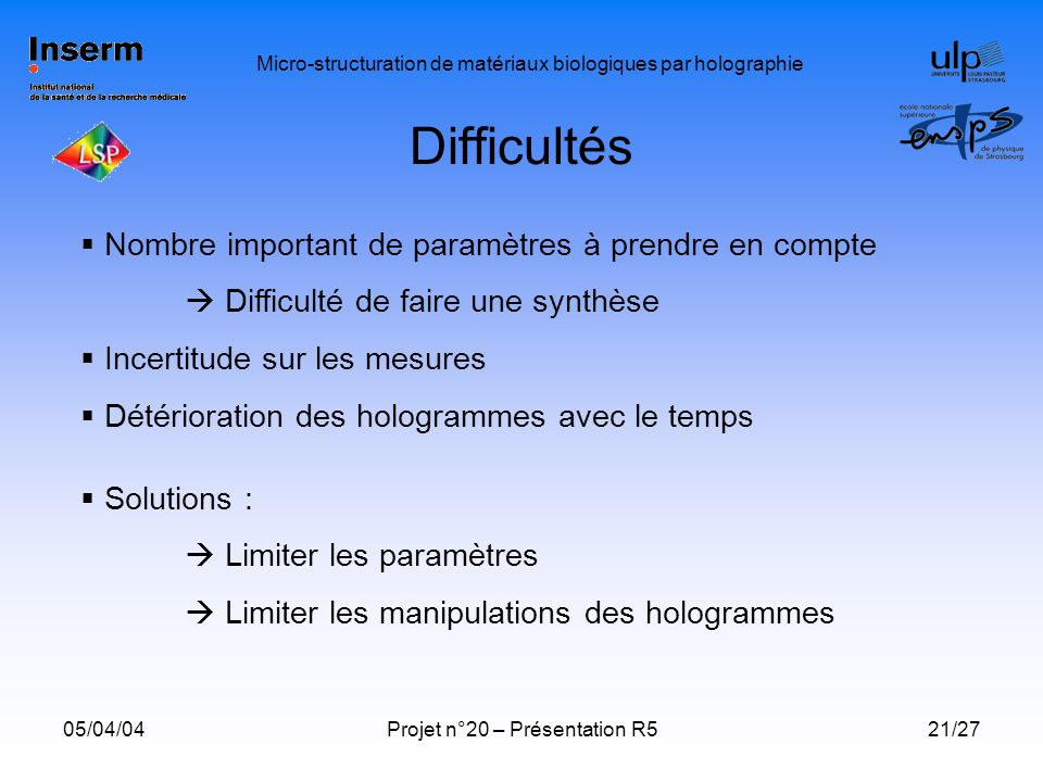 Difficultés Nombre important de paramètres à prendre en compte