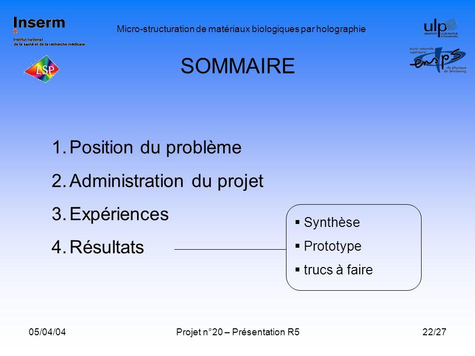 SOMMAIRE Position du problème Administration du projet Expériences