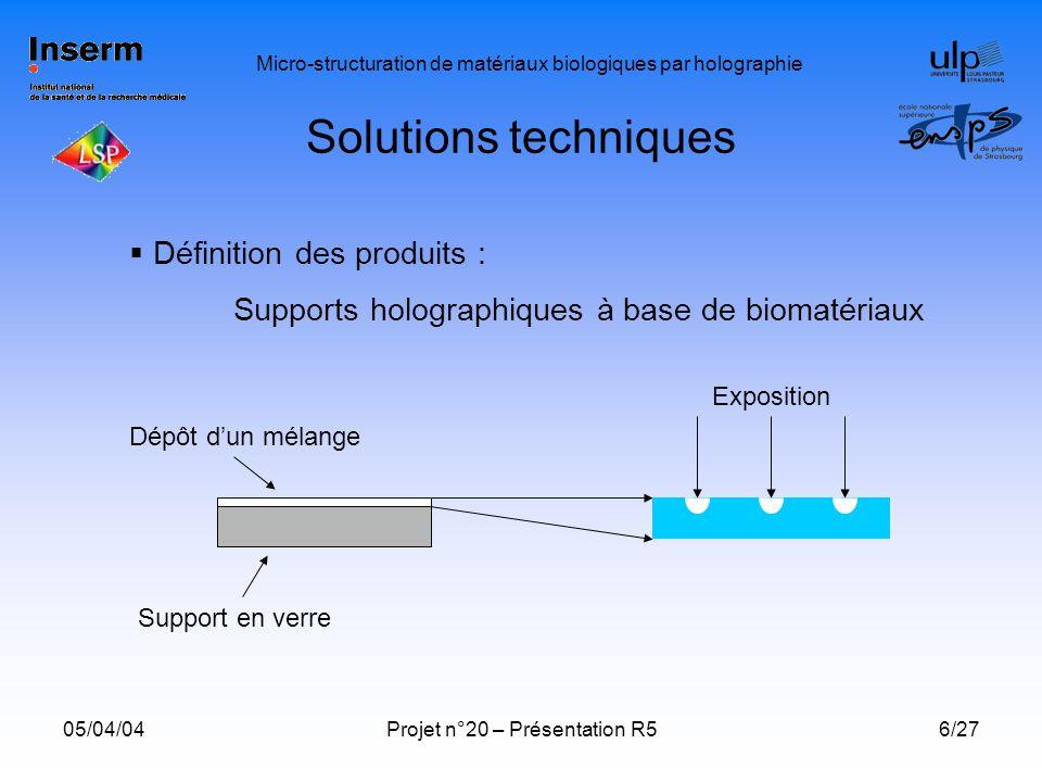 Solutions techniques Définition des produits :