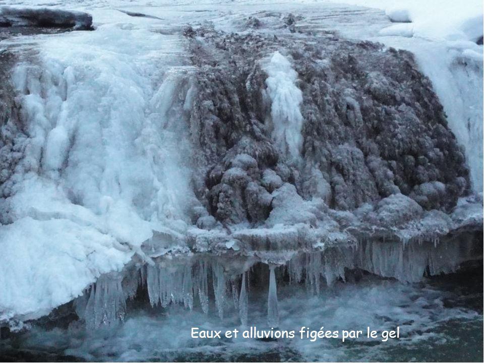 Eaux et alluvions figées par le gel