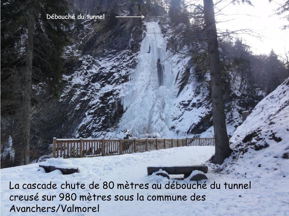 Débouché du tunnel La cascade chute de 80 mètres au débouché du tunnel creusé sur 980 mètres sous la commune des Avanchers/Valmorel.