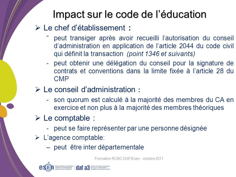 Impact sur le code de l'éducation
