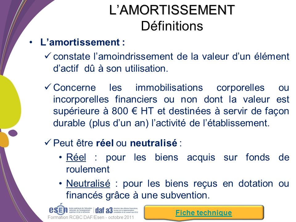 L'AMORTISSEMENT Définitions