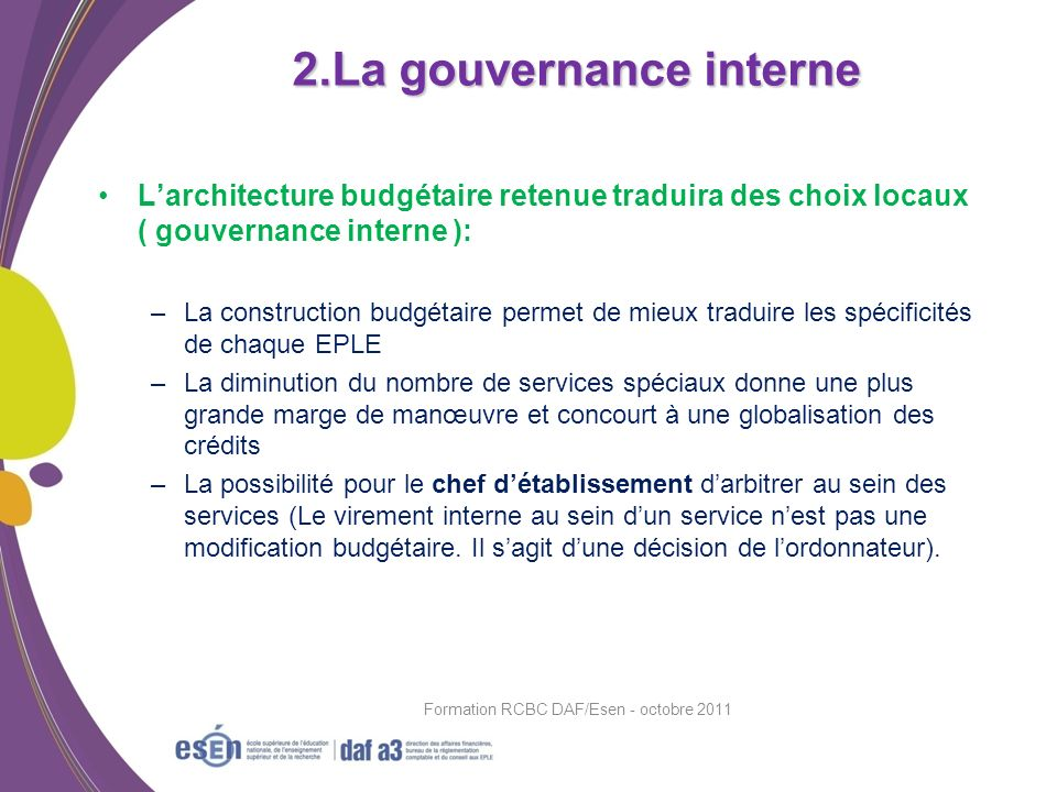 2.La gouvernance interne