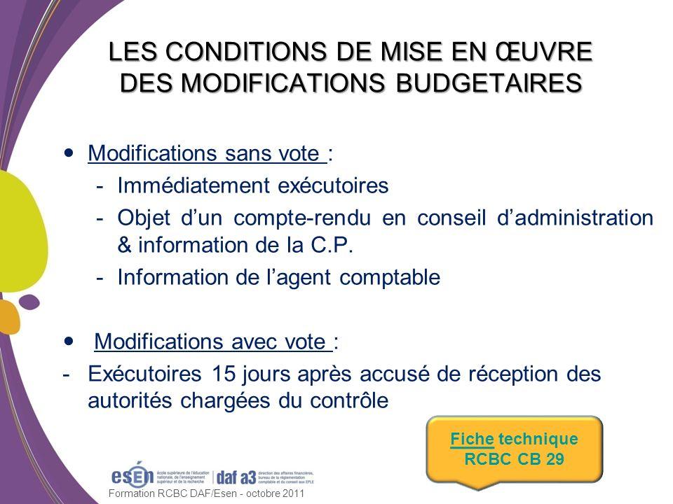 LES CONDITIONS DE MISE EN ŒUVRE DES MODIFICATIONS BUDGETAIRES