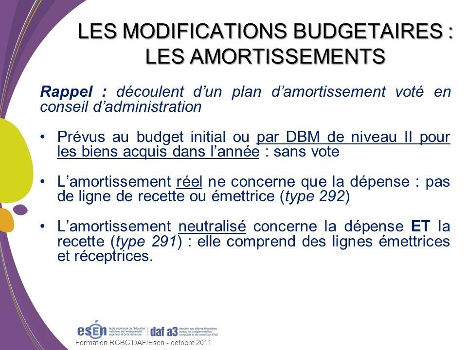 LES MODIFICATIONS BUDGETAIRES : LES AMORTISSEMENTS