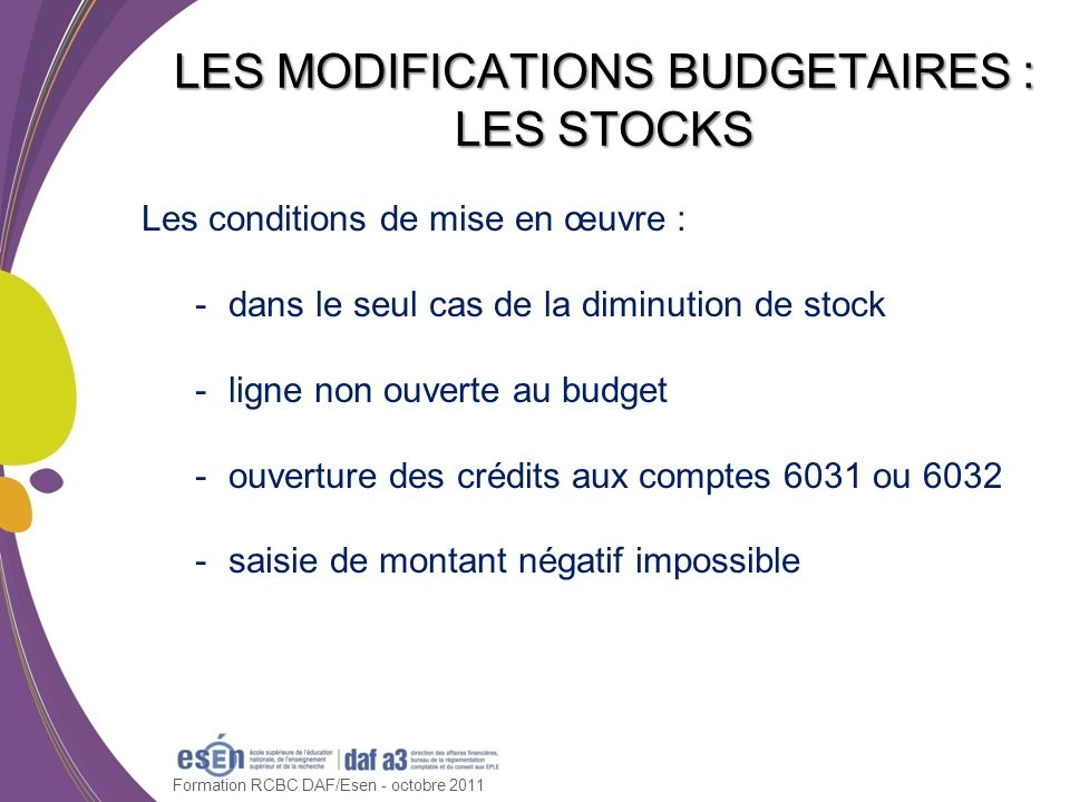 LES MODIFICATIONS BUDGETAIRES : LES STOCKS