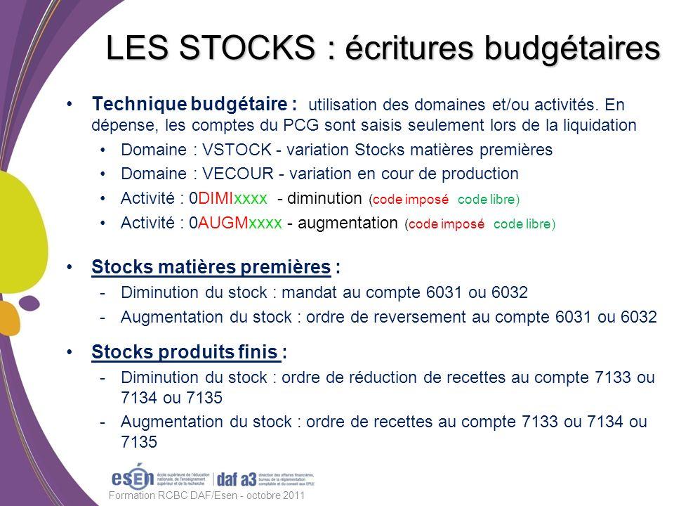 LES STOCKS : écritures budgétaires