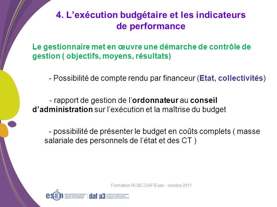 4. L'exécution budgétaire et les indicateurs de performance