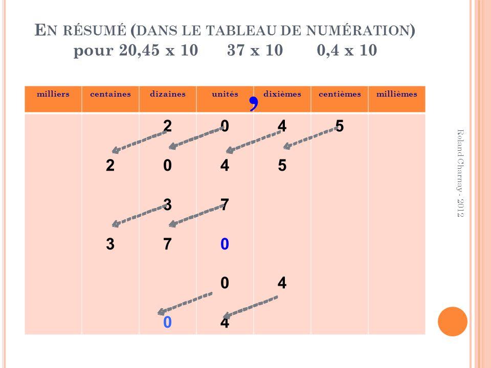 En résumé (dans le tableau de numération) pour 20,45 x 10 37 x 10 0,4 x 10