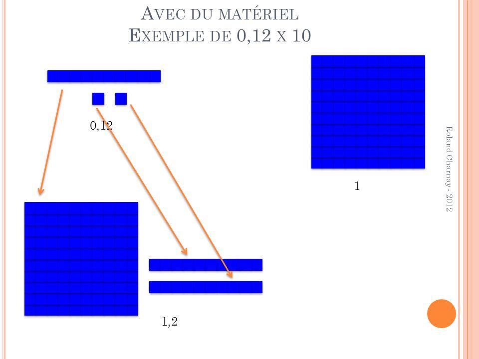 Avec du matériel Exemple de 0,12 x 10