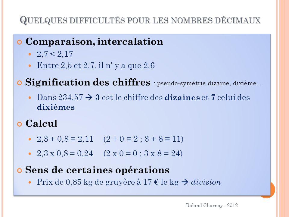Quelques difficultés pour les nombres décimaux