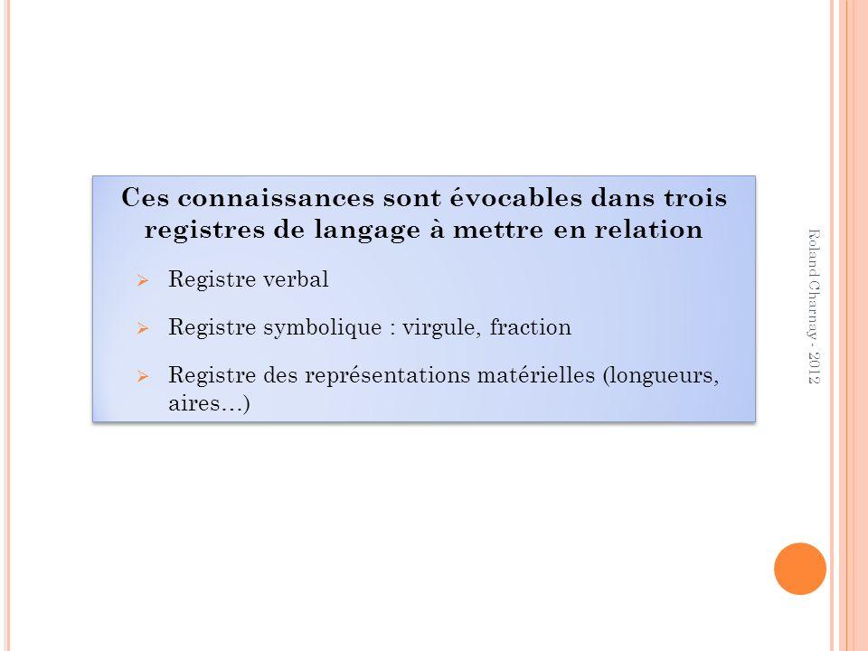 Ces connaissances sont évocables dans trois registres de langage à mettre en relation