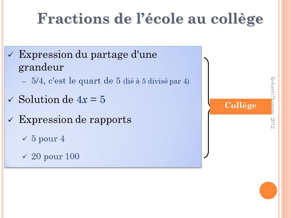 Fractions de l'école au collège