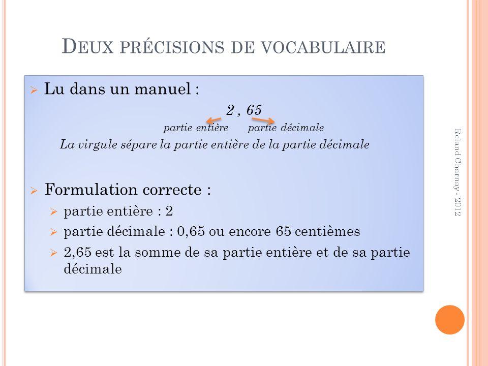 Deux précisions de vocabulaire