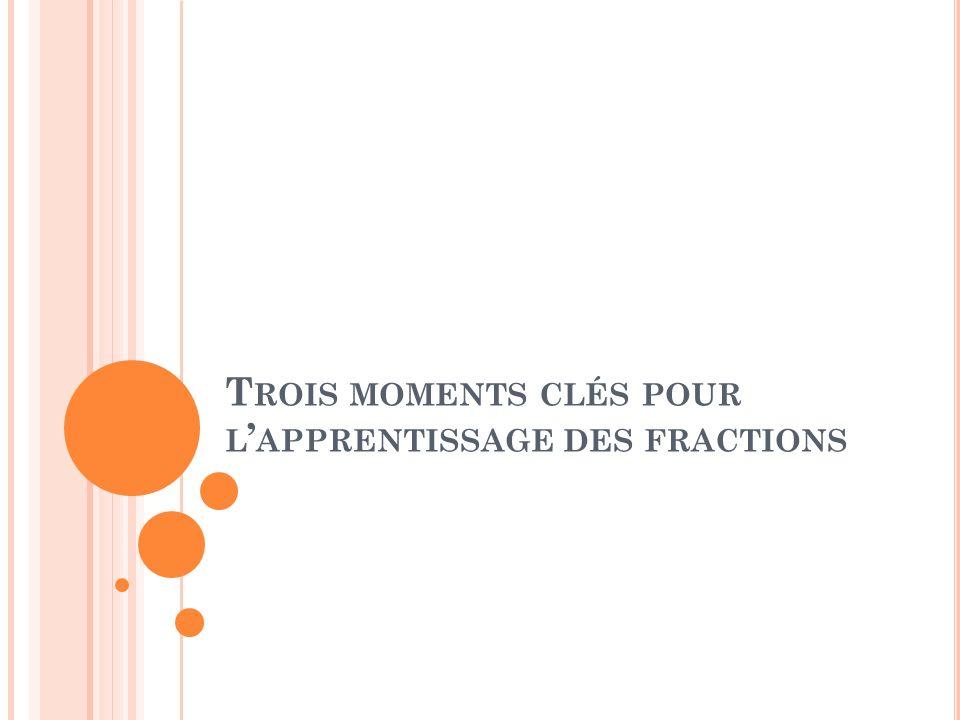 Trois moments clés pour l'apprentissage des fractions